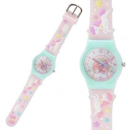〔小禮堂〕雙子星 造型矽膠錶帶兒童手錶《粉綠.獨角獸》休閒錶.透明盒裝