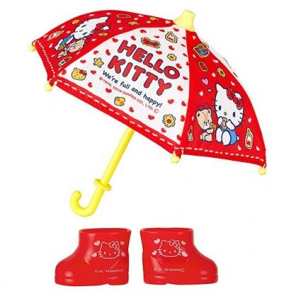 〔小禮堂〕小美樂娃娃 x Hello Kitty 玩偶娃娃鞋子配件組 《紅黃.雨天組合》洋娃娃配件