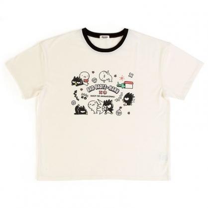 〔小禮堂〕酷企鵝 休閒棉質圓領短袖上衣《白黑.插圖》T恤.短T.T-shirt