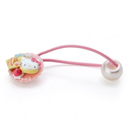 〔小禮堂〕Hello Kitty 甜點造型塑膠彈力髮束《粉黃.甜甜圈》髮圈.髮飾