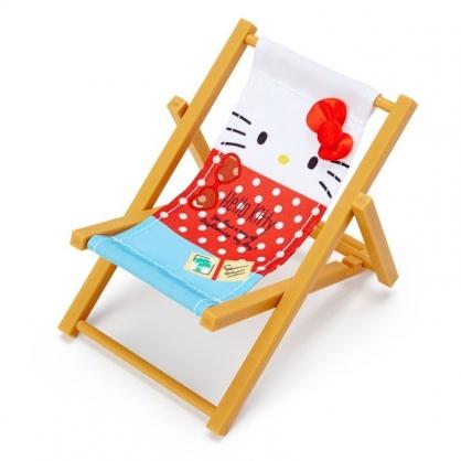 〔小禮堂〕Hello Kitty 迷你海灘椅置物架手機架《紅棕》玩具.擺飾.熱帶沙灘系列