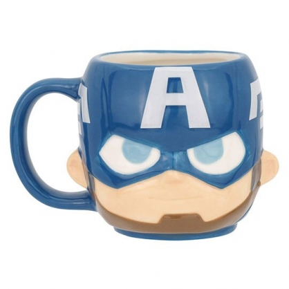 〔小禮堂〕漫威英雄 Marvel 美國隊長 大臉造型陶瓷馬克杯《藍灰》270ml.咖啡杯