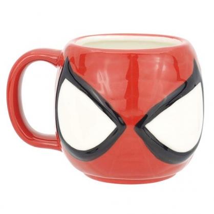 〔小禮堂〕漫威英雄 Marvel 蜘蛛人 大臉造型陶瓷馬克杯《紅白》270ml.咖啡杯