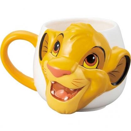〔小禮堂〕迪士尼 獅子王辛巴 大臉造型陶瓷馬克杯《黃白》380ml.咖啡杯