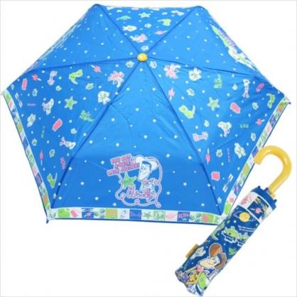 〔小禮堂〕迪士尼 玩具總動員 彎把防風傘骨折疊雨傘《黃藍.外太空》折傘.雨具