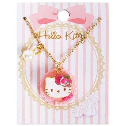 〔小禮堂〕Hello Kitty 甜點造型珍珠短鍊兒童項鍊《粉金.鬆餅》頸鍊.鍊墜.金鍊