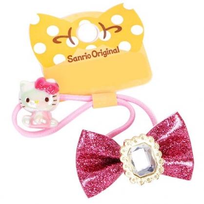 〔小禮堂〕Hello Kitty 亮粉蝴蝶結寶石造型彈力髮束《桃》髮圈.髮飾
