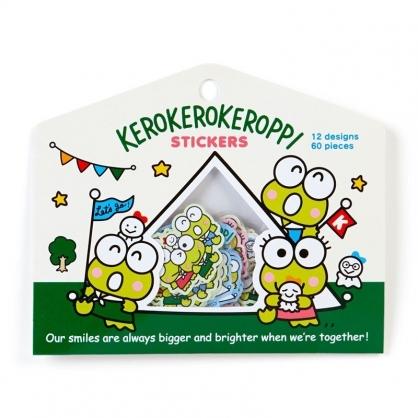 〔小禮堂〕大眼蛙 造型貼紙組《60枚.綠白》裝飾貼.晴天郊遊系列
