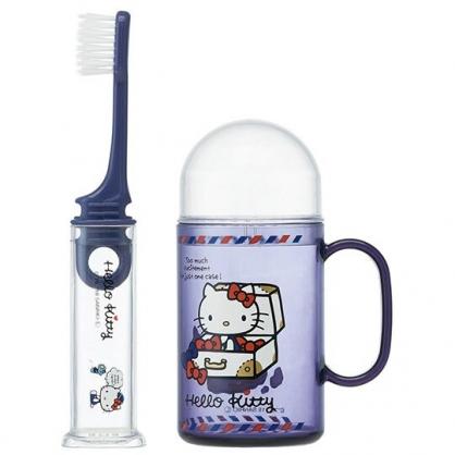 〔小禮堂〕Hello Kitty 杯裝旅行牙刷組《深紫.箱子裡》折疊牙刷.盥洗用品