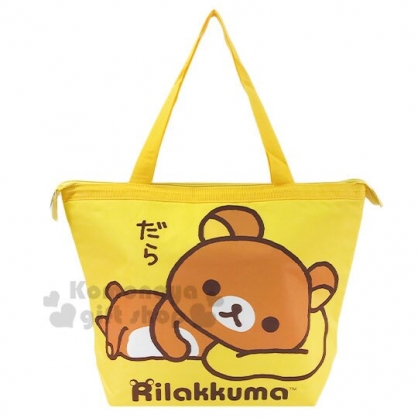 〔小禮堂〕懶懶熊 拉拉熊 尼龍保冷手提袋側背袋《黃棕.側躺》野餐袋.肩背袋
