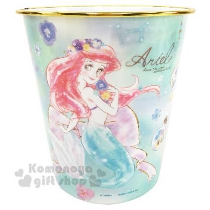〔小禮堂〕迪士尼 小美人魚 圓形無蓋垃圾桶《綠金.閉眼》書報桶.收納桶.置物桶