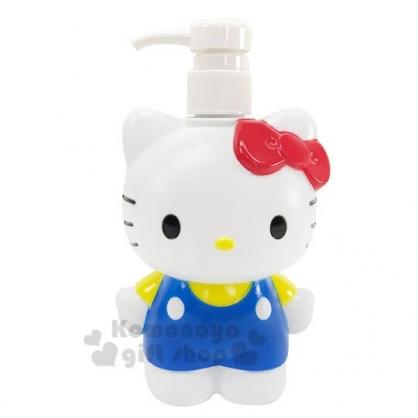 〔小禮堂〕Hello Kitty 造型塑膠按壓式空瓶《藍白.站姿》500ml.沐浴罐.乳液罐