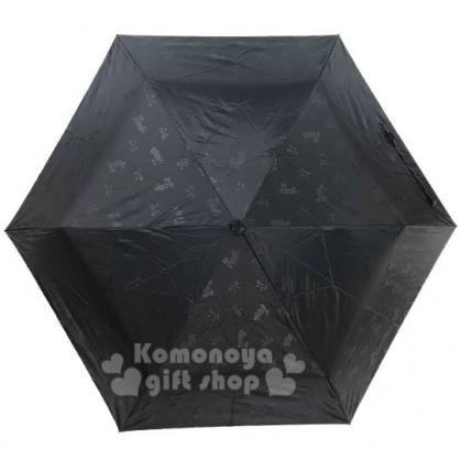 〔小禮堂〕迪士尼 米奇米妮 超輕量折疊雨陽傘《黑.蝴蝶結》折傘.雨具