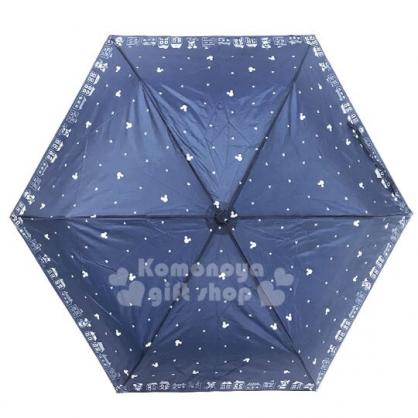〔小禮堂〕迪士尼 米奇米妮 超輕量折疊雨陽傘《深藍.大臉星星》折傘.雨具