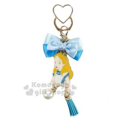 〔小禮堂〕迪士尼 愛麗絲 緞帶蝴蝶結造型金屬手機指環架《藍》立架.指環扣.吊飾