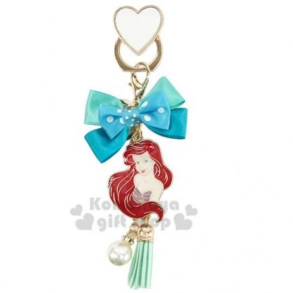 〔小禮堂〕迪士尼 小美人魚 緞帶蝴蝶結造型金屬手機指環架《綠》立架.指環扣.吊飾