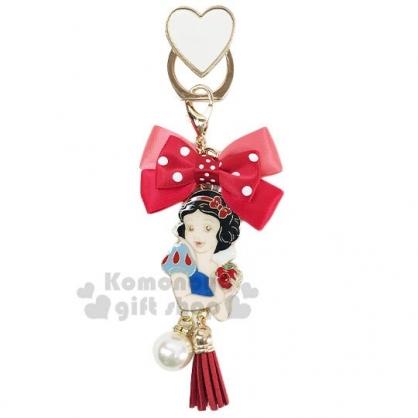 〔小禮堂〕迪士尼 白雪公主 緞帶蝴蝶結造型金屬手機指環架《紅》立架.指環扣.吊飾