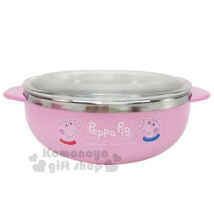 〔小禮堂〕佩佩豬 雙耳不鏽鋼碗附透明蓋《粉.大臉》400ml.飯碗.隔熱碗.兒童碗