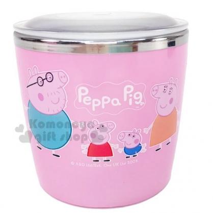 〔小禮堂〕佩佩豬 單耳不鏽鋼杯附蓋《粉.家人》250ml.茶杯.水杯