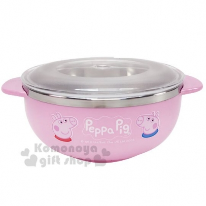 〔小禮堂〕佩佩豬 雙耳不鏽鋼碗附透明蓋《粉.大臉》270ml.飯碗.隔熱碗.兒童碗