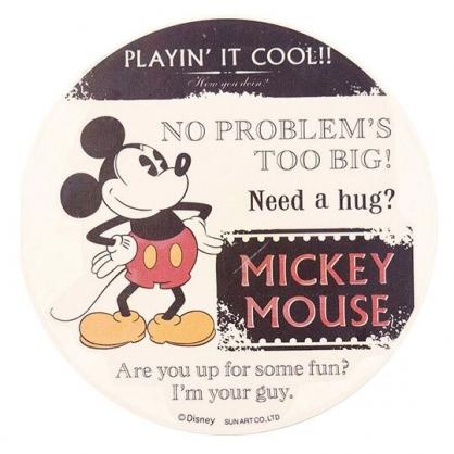 〔小禮堂〕迪士尼 米奇 圓形陶瓷吸水杯墊《黑白.手撐腰》止滑.防滑