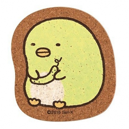 〔小禮堂〕角落生物 企鵝 日製造型軟木吸水杯墊《綠棕.坐姿》隔熱墊.止滑.防滑