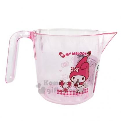 〔小禮堂〕美樂蒂 單耳透明塑膠量杯《粉.咖啡杯》300ml.烘焙用品.銅板小物