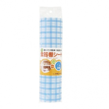〔小禮堂〕日製抗菌櫥櫃防潮墊《藍.格紋》30x500cm.櫥櫃墊.防塵墊