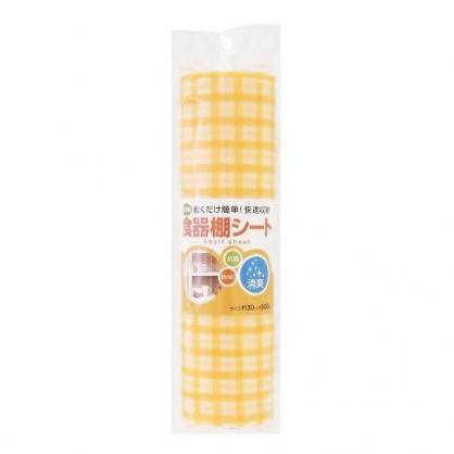 〔小禮堂〕日製抗菌櫥櫃防潮墊《橘.格紋》30x500cm.櫥櫃墊.防塵墊