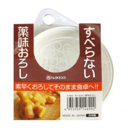 〔小禮堂〕日本NAKAYA 日製圓形塑膠拿蓋磨泥器《白》磨蒜器