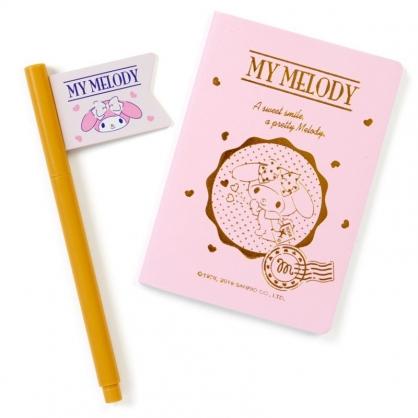 〔小禮堂〕美樂蒂 仿護照空白筆記本原子筆組《粉金》記事本.手札.手記