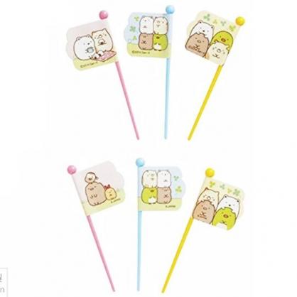 〔小禮堂〕角落生物 日製塑膠旗子食物裝飾叉組《9入.粉黃》甜點叉.水果叉.食物叉