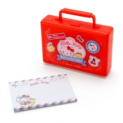 〔小禮堂〕Hello Kitty 皮箱造型塑膠盒裝便條紙《紅》20張.名片盒.收納盒