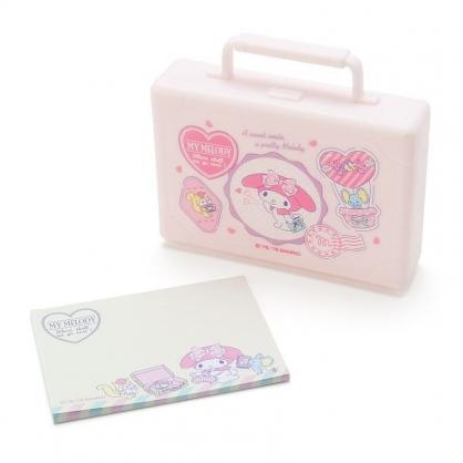 〔小禮堂〕美樂蒂 皮箱造型塑膠盒裝便條紙《粉》20張.名片盒.收納盒