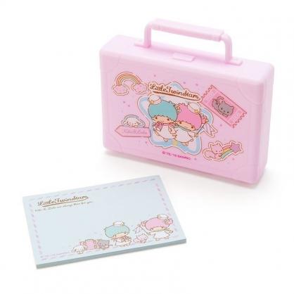 〔小禮堂〕雙子星 皮箱造型塑膠盒裝便條紙《粉紫》20張.名片盒.收納盒