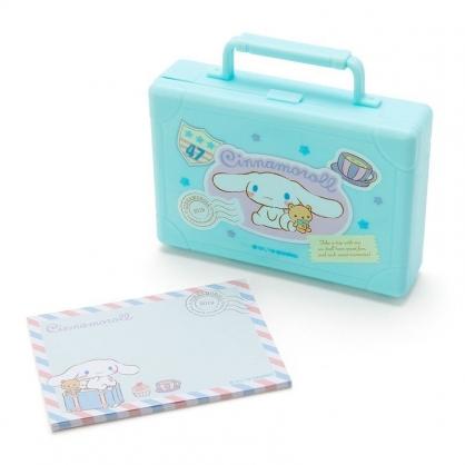 〔小禮堂〕大耳狗 皮箱造型塑膠盒裝便條紙《藍》20張.名片盒.收納盒