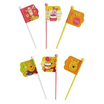 〔小禮堂〕迪士尼 小熊維尼 日製塑膠旗子食物裝飾叉組《9入.黃橘》甜點叉.水果叉.食物叉