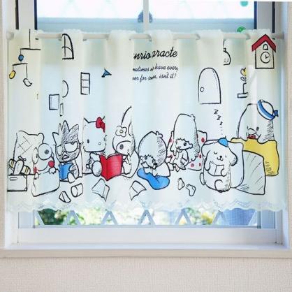 〔小禮堂〕Sanrio大集合 日製棉麻短門簾《淡黃.讀書》120x47cm.布簾.窗簾