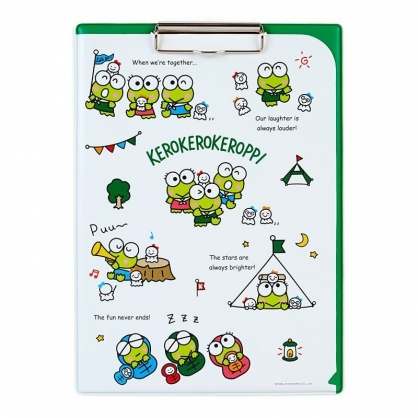 〔小禮堂〕大眼蛙 塑膠皮質文件夾板《綠白》資料夾.板夾.菜單夾.晴天郊遊系列