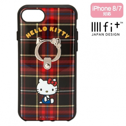 〔小禮堂〕Hello Kitty llll fit 全包式防摔手機殼 iPhone7/8《黑紅.格紋》保護殼.指環架