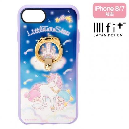 〔小禮堂〕雙子星 llll fit 全包式防摔手機殼 iPhone7/8《紫藍.獨角獸》保護殼.指環架