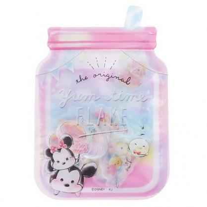 〔小禮堂〕迪士尼TsumTsum 米奇米妮 梅森杯造型透明貼紙夾鏈袋組《粉藍》裝飾貼.黏貼用品
