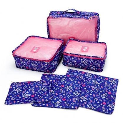 〔小禮堂〕Hello Kitty 尼龍方形衣物收納袋組《6入.紫桃.滿版》網袋.盥洗包