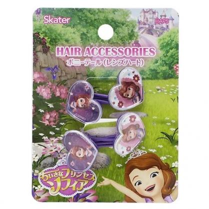 〔小禮堂〕迪士尼 蘇菲亞公主 愛心造型壓克力彈力髮束組《2入.紫》髮圈.髮飾