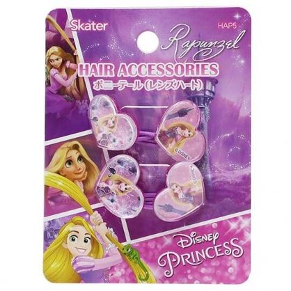 〔小禮堂〕迪士尼 長髮公主 愛心造型壓克力彈力髮束組《2入.紫》髮圈.髮飾