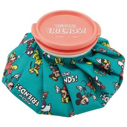 〔小禮堂〕迪士尼 米奇 尼龍圓筒狀冰敷袋《綠橘.滿版》冰墊.冰袋.冰枕