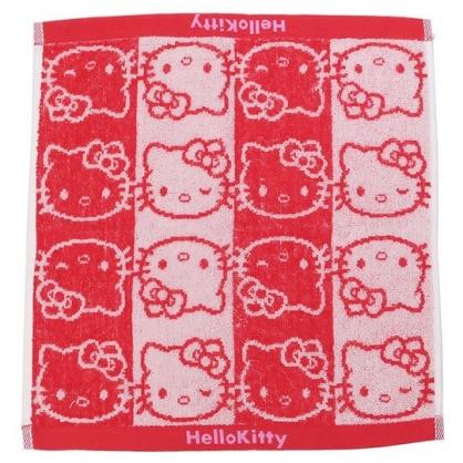 〔小禮堂〕Hello Kitty 純棉無捻紗方形毛巾《紅白.直條大臉》34x36cm.方巾.丸真毛巾