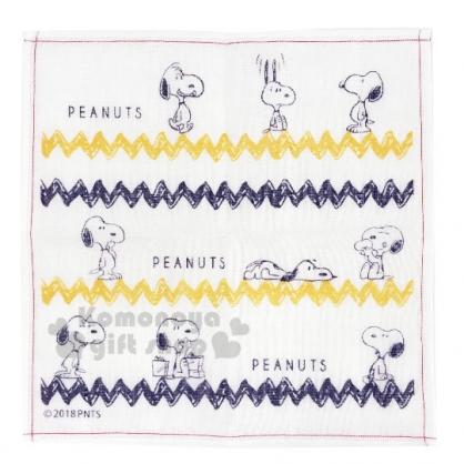 〔小禮堂〕史努比 日製紗布方形毛巾《米藍黃.閃電紋》30x30cm.手帕.方巾