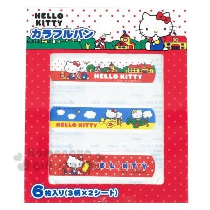 〔小禮堂〕Hello Kitty 袋裝OK蹦組《紅白.側坐》6枚入.繃帶.貼布