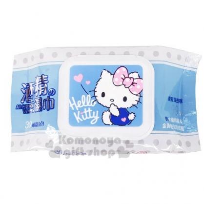 〔小禮堂〕Hello Kitty 30抽附蓋酒精濕紙巾包《藍白.摸嘴》柔濕巾.清潔用品